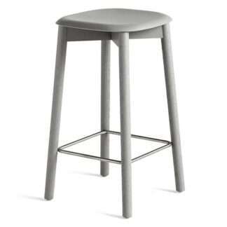 Soft edge 32 Low Bar Stool Barpall soft grey stained solid oak
