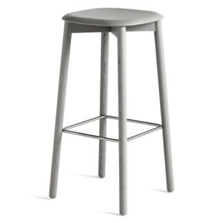 Soft edge 32 High Bar Stool Barpall soft grey stained solid